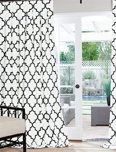 Contemporary Cotton Collection: Gate-Black/white French  Pleat: 1 1/2 Width  46 Inches Wide Per Panel Select Lining :Standard REGULAR PRICE: $829.78 SALE PRICE: $705.31 (Expires July 12) Express Checkout Estimated Shipping: $82.98 Flat Rate Shipping $21.99 (Expires July 12) No Sales Tax (Except Calif.)