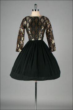 Vintage 1950s Dress Black Crepe Metallic by millstreetvintage