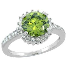 $145.28 USD, Sterling Silver Round Peridot Ring Sunburst CZ by WorldJewels