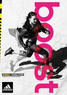 sport campaign adidas Ultra Boost Energy Takes Over Campaign on Behance Sports Graphic Design, Graphic Design Posters, Graphic Design Inspiration, Adidas Design, Creative Poster Design, Murals Street Art, Sports Graphics, Ss 15, Design Trends