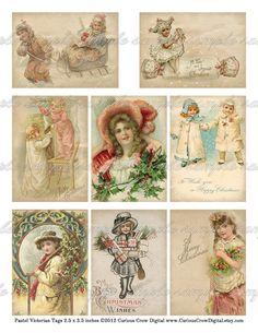 Niños del Victorian Christmas Gift Tags de CuriousCrowDigital