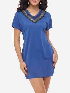 #Fashionmia - #Fashionmia Beading Exquisite V Neck Shift-dress - AdoreWe.com