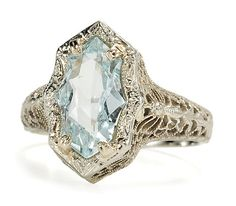 Art Deco Aquamarine Ring/The Three Graces/On Hold >: