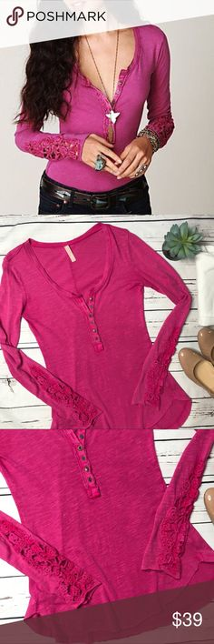 "{Free People} sz S crochet sleeve hot pink henley Free People size small crochet cuff henley in this gorgeous hot pink! Excellent condition, no flaws!   Measurements approximate:  Bust: 16 1/2"" Shoulder to hem: 28""   Fabric content: 100% Cotton   Offers always welcome in my closet! Free People Tops Tees - Long Sleeve"