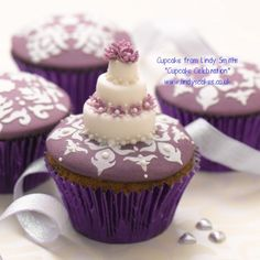 Tiered miniature wedding cake cupcake from Lindy's 'bake me I'm yours...cupcake celebration' book