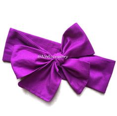 Purple Bow  baby head wrap baby turban big bow by NeAccessory