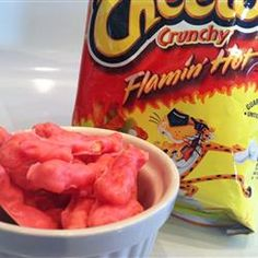 Caroline's Firecrackers  - hot cheetos and almond bark - too weird not to try! Said to be strangely addicting.