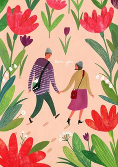 Jimin Yoon, illustration, drawing, couple, love, nature, plants, flowers, painting, adventure