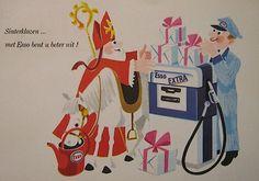 Een Esso-reclameansichtkaart ter gelegenheid van Sinterklaas, 1964, van het garage bedrijf Herweijer in Den Haag