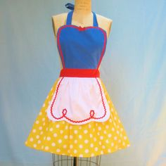 WANT! retro apron SNOW WHITE inspired retro APRON womens full costume aprons. $32.00, via Etsy.