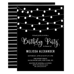 Unicorn floral birthday party baby shower envelope black and white string lights birthday party card negle Choice Image
