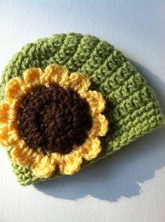 Crochet Hat with Flower, Apple Green Hat, Sunflower Hat, Fall Baby Hat, Newborn Hat, Little Girl Hat, Child Hat, Autumn Hat, Halloween. $18.00, via Etsy.
