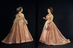 c.1865 evening dress by Mme. Olympe, who was one of the first, if not the first, American dressmakers to label her gowns, a practice intiated by Worth et Bobergh in the early 1860s.