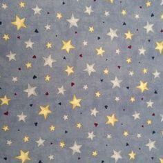 Tissu Grandes Etoiles et Mini Coeurs sur fond Bleu Chez entrez-sans-frapper-deco