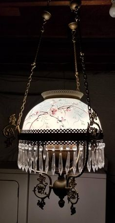 Antique 1800's Ornate Victorian Chandelier Crystal Prism Hand Painted Shade Parlor Library Brass Cha
