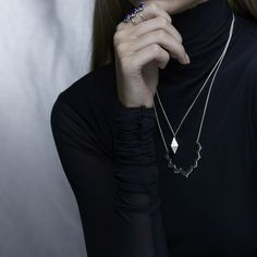 The modern mountain necklace is designed as an elongated pyramid with hand carved triangle detailing, to capture the splendour of the Moroccan Rif Mountains. Stacked Necklaces, Silver Necklaces, Silver Rings, Silver Engagement Rings, Ring Engagement, Bridesmaid Jewelry, Precious Metals, Dog Tag Necklace, Diamond Jewelry