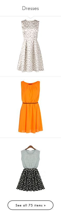 """""""Dresses"""" by mailu-italiano ❤ liked on Polyvore featuring dresses, vestidos, short dresses, robes, white fit and flare cocktail dress, polka dot dress, short summer dresses, short white dresses, white polka dot dress and orange"""