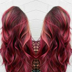 pink hair brown shadow root chocolate strawberry ombre bayalage fashion color…