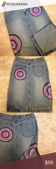RARE FIND! Sean Combs brand jean skirt Enyce/ 4-6 RARE FIND! Sean Combs/ P Diddy/ Puffy Daddy...  his clothing brand jean skirt Enyce. Excellent condition with tags- meant to look worn- edges lightly and purposely frayed. Graffiti art. Waistband measures 14 1/2 inches across front when laid flat. Skirt length is approximately 25 inches. Cute side slits on both sides. Measuring down from the waistband, they start 14 1/2 inches down. Enyce Skirts A-Line or Full