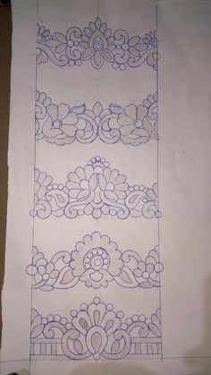 Рисунки Border Embroidery Designs, Cutwork Embroidery, Embroidery Stitches, Embroidery Patterns, Machine Embroidery, Mehndi Art Designs, Pencil Design, Beadwork Designs, Free Hand Drawing