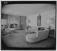 Living room at the 1957 Bellehurst Model Home designed by Scott Beacham.  Love the angled sofa and table.