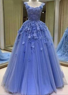 Cheap prom dresses , Sexy Prom Dress,Tulle Ball Gown Prom Dresses, Blue Evening Dress,Long Evening Dresses,Sleeveless Lace Prom Dresses