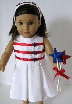 Miss Patriotic White Pique Dress with Red by toocutedolldesigns, $20.00