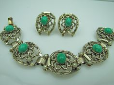 Florenza Bracelet Earring Set. Lucky Shamrock & Horseshoe Design. Flawed Emerald Easter Egg Cabochons With Pearls. Antique Gold Finish 1950 by MercyMadge on Etsy