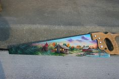 Autumn painted hand saw blade country barn, fishing pier, sunset and farmland with lake hand painted by sherrylpaintz..