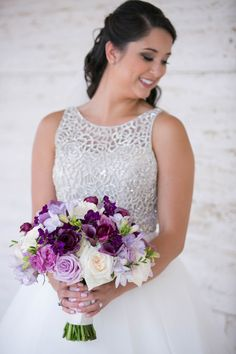 "This perfectly gorgeous Texas wedding with pretty purple details is effortless chic and makes us want to get up and dance to Prince's ""Purple Rain"" song. Wedding Pins, Wedding Details, Wedding Bouquets, Wedding Flowers, Wedding Dresses, Wedding Ideas, Purple Rain Song, Strictly Weddings, Purple Wedding"