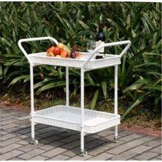 Wicker Lane Outdoor Wicker Patio Furniture Serving Cart, White