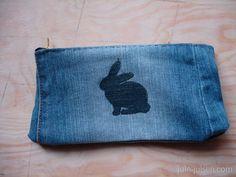 DIY easter pencil case using old jeans/denim