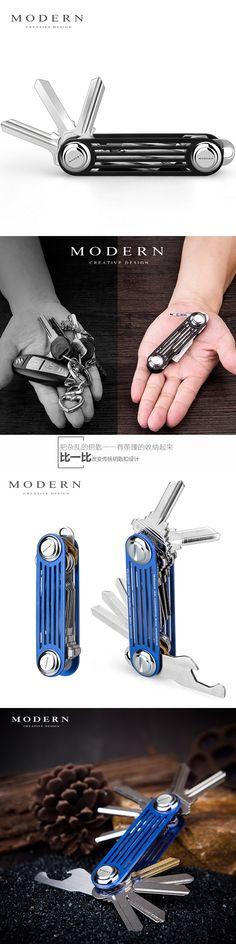 Modern - Brand New 2017 Aluminum Smart Key Wallet Key Organizer DIY Keychain EDC Pocket Car Key Holder Men Women Key Chain