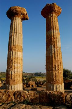 Temple columns ruins, Valley of the temples, Agrigento Sicily