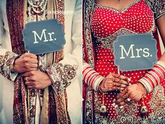 OHMYGOD!! Finally some mix of American-Desi wedding stuff!! LOVE both of the couple's outfits and the cute signs! #american #desi #wedding