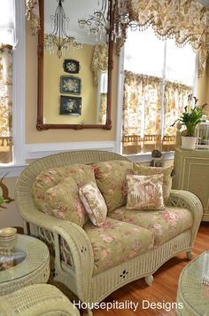 Charming Green Wicker...curtains by shirleystankus, via Flickr.