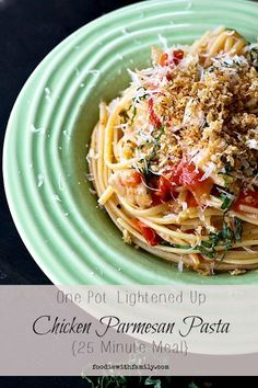 Creamy tomato basil sauce coated pasta with bite-sized pieces of chicken, fresh basil and crispy, buttery parmesan bread crumbs tastes just like a plate of Chicken Parmesan, minus the heartburn and ridiculous calorie count. This is a five star, one-pot meal!