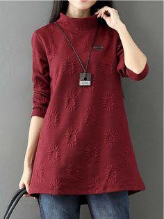 Casual Women Long Sleeve High Collar Dresses