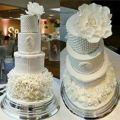 All white ruffle cake