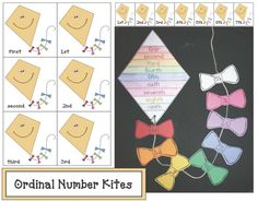 Here's a set of kite-themed ordinal number cards. Also includes materials for creating ordinal number kites. Numbers Kindergarten, Kindergarten Activities, Teaching Math, Learning Activities, 1st Grade Crafts, Math Crafts, Ordinal Numbers, Math Numbers, Foundation Maths