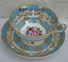 Pretty Vintage Royal Grafton China Duo Tea Cup and Saucer Pretty Turquoise with Gold lace and trim withnwhite floral base