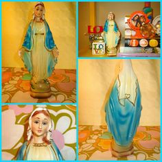 VTG 1950s Antique Kitsch Chalkware Madonna Catholic Virgin Mary Religious Statue