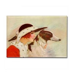 Lady and Borzoi Magnet - Cow, Moose Art, My Favorite Things, Lady, Gifts, Animals, Painting, Presents, Animaux