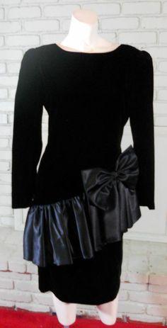 Vintage 80s Darcy Black Cocktail dress XS Satin & Velvet