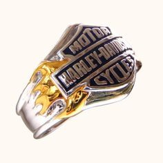 New Sterling Silver Mens Harley-Davidson Logo Ring Yellow Gold Side Flames Harley Davidson Oil, Harley Davidson Rings, Harley Gear, Harley Davidson Merchandise, Wedding Ring Bands, Rings For Men, Sterling Silver, Men's Jewelry, Jewlery