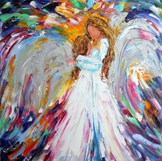 Original oil painting Angel Hugs palette knife impasto impressionism fine art impasto by Karen Tarlton on Etsy, $135.00