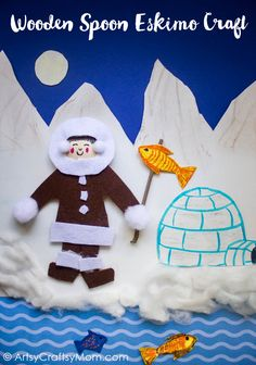 Enhance your lessons on the Inuit or Eskimo tribes of North America using a simple Wooden Spoon Eskimo Craft. Complete with snow capped mountains, a fishing pole and a cardboard igloo Holiday Crafts For Kids, Diy For Kids, Christmas Crafts, Preschool Crafts, Kids Crafts, Arts And Crafts, Igloo Craft, Craft Stick Crafts, Paper Crafts