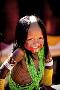♔vida - Brazil | Little Kayapo girl | Photographed in Rio, 20 June 2012 ~ photographer unknown