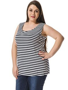 d1c08cdd1942e6 Agnes Orinda Women Plus Size Striped Top w Cut Out Bowknot Back Blue White  2X at Amazon Women's Clothing store: