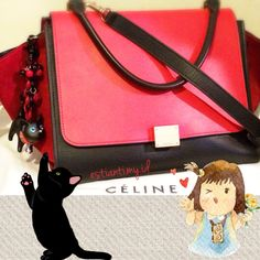 mybag #celine #trapeze red-black \u0026amp; suede red, with #hellokitty ...